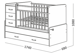 534035 Кровать детская СКВ-5 опуск бок,маятник,5 ящиков, берёза