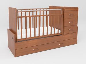 534037 Кровать детская СКВ-5 опуск бок,маятник,5 ящиков,орех  (74,5 кг)