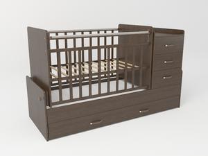 534038 Кровать детская СКВ-5 опуск бок,маятник,5 ящиков,венге  (74,5 кг)