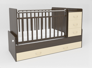 534038-9 Кровать детская СКВ-5 опуск бок,маятник,5 ящиков,венге фасад-бежевый  (74,5 кг)