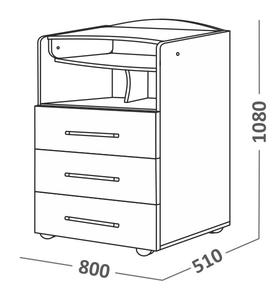 700011 Комод СКВ,1 полка,3ящика,ручка-скоба,колеса,белый (41,2 кг)