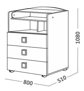 700021 Комод СКВ, 1 полка, 3 ящика, ручка-квадратная,колеса, белый(41,2 кг)