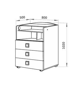 700025 Комод СКВ, 1 полка, 3 ящика, ручка-квадратная,колеса, береза(41,2 кг)