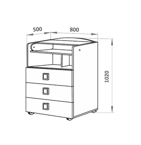 700028-9 Комод СКВ, 1 полка, 3 ящика, ручка-квадратная ,колеса, венге-бежевый(41,2 кг)