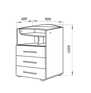 700018-1 Комод СКВ, 1 полка, 3 ящика, ручка-скоба,колеса, венге-белый(41,2 кг)