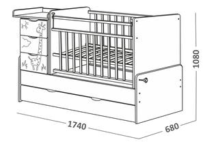 540035-1 Кровать детская СКВ 5 Жираф, опуск.бок.,маятник 4 ящ.береза+белый  (74,5 кг)