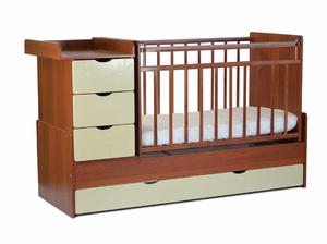 540037-9 Кровать детская СКВ 5 Жираф, опуск.бок.,маятник 4 ящ.орех+беж  (74,5 кг)