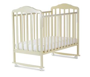 120119 Кровать детская Берёзка (автостенка, колесо, качалка, накладка ПВХ ( бежевый) (18 кг)
