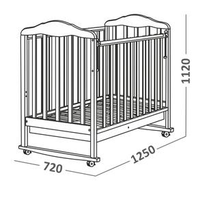 121111 Кровать детская Берёзка (автостенка, ящик, колесо, качалка, накладка ПВХ ( белый) (23 кг)