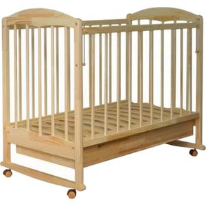 121115 Кровать детская Берёзка (автостенка, ящик, колесо, качалка, накладка ПВХ ( береза) (23 кг)