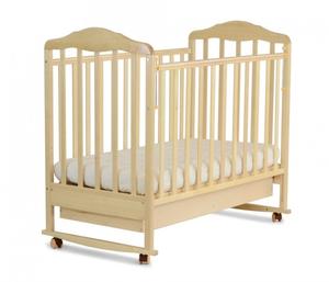 121119 Кровать детская Берёзка (автостенка, ящик, колесо, качалка, накладка ПВХ ( бежевый) (23 кг)