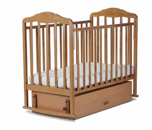 126006 Кровать детская Берёзка (автостенка, попер. и прод. маятник, закр.ящик,качалка, накладка(бук)