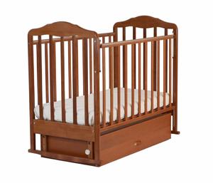 126007 Кровать детская Берёзка (автостенка, попер. и прод. маятник, закр.ящик,качалка,накладка(орех)