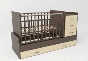 540038-1 Кровать детская СКВ 5 Жираф, опуск.бок.,маятник 4 ящ.венге+белый  (74,5 кг)