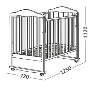 120111 Кровать детская Берёзка (автостенка, колесо, качалка, накладка ПВХ ( белый) (18 кг)