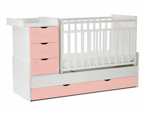 542031-304 Кровать детская СКВ-5 Бабочки, опуск.бок., маятник, 4 ящ.,белый+риф розовый