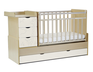 540035-110 Кровать детская СКВ 5 Жираф, опуск.бок.,маятник 4 ящ.береза+кожа молочный