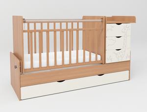 540036-110 Кровать детская СКВ 5 Жираф, опуск.бок.,маятник 4 ящ.бук+кожа молочный