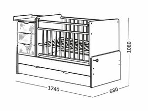 520039-1 Кровать детская СКВ-5. Жираф, фотопечать, опуск.бок, маятник, 4 ящика, беж+белый