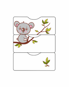 521037-1 Кровать детская СКВ-5. Коала, фотопечать, опуск.бок, маятник, 4 ящика,орех+белый
