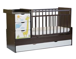 520038-1 Кровать детская СКВ-5. Жираф, фотопечать, опуск.бок, маятник, 4 ящика, венге+белый
