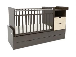 550038-9 Кровать детская СКВ-5 Жираф, опуск.бок., маятник, полка, 3 ящика, венге-бежевый