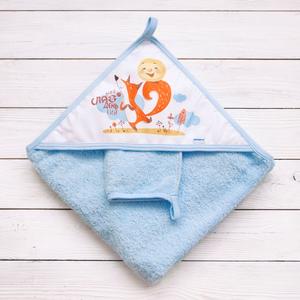 """900(С) М Пеленка 90 для купания с углом """"Сказка"""" и рукавичкой Колобок голубой"""