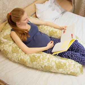 """Подушка для беременных форма U """"Ассорти"""" (360*35 см) в чемодане (голубые сердечки)"""