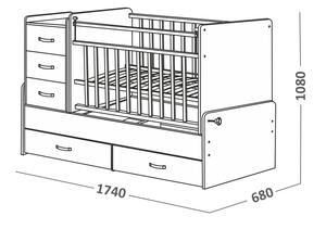 544035 Кровать детская СКВ-5 опуск бок,маятник,5 ящиков, берёза  (74,5 кг)