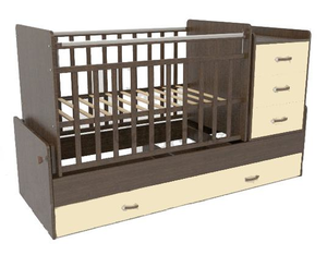 544038-5 Кровать детская СКВ-5 опуск бок,маятник,5 ящиков,венге фасад-береза  (74,5 кг)