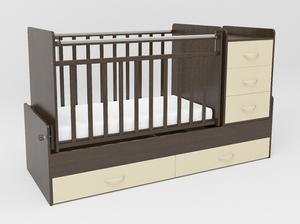544038-9 Кровать детская СКВ-5 опуск бок,маятник,5 ящиков,венге фасад-бежевый  (74,5 кг)
